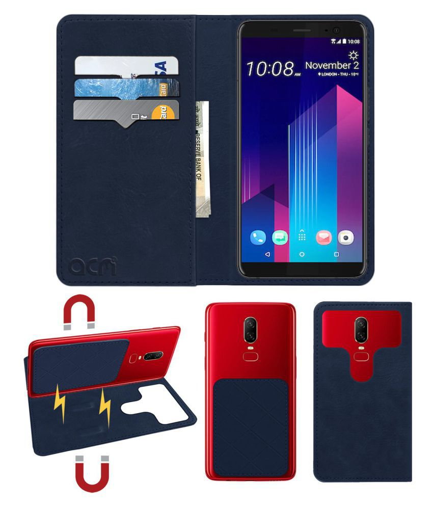 HTC U11+ Flip Cover by ACM - Blue 2 in 1 Detachable Case,Attachable Flip With Magnet