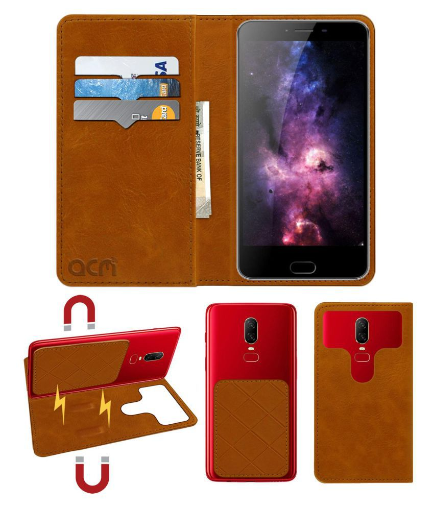 Kenxinda V8 Flip Cover by ACM - Golden 2 in 1 Detachable Case,Attachable Flip With Magnet