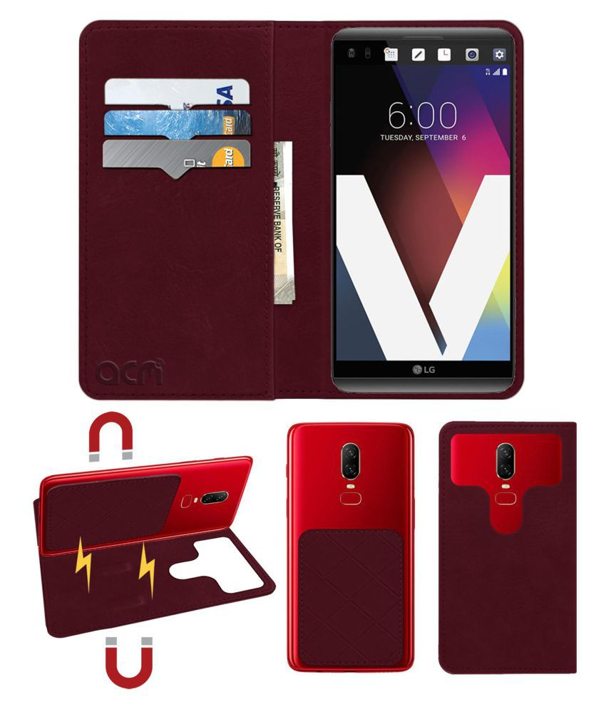 Lg V20 Flip Cover by ACM - Red 2 in 1 Detachable Case,Attachable Flip With Magnet