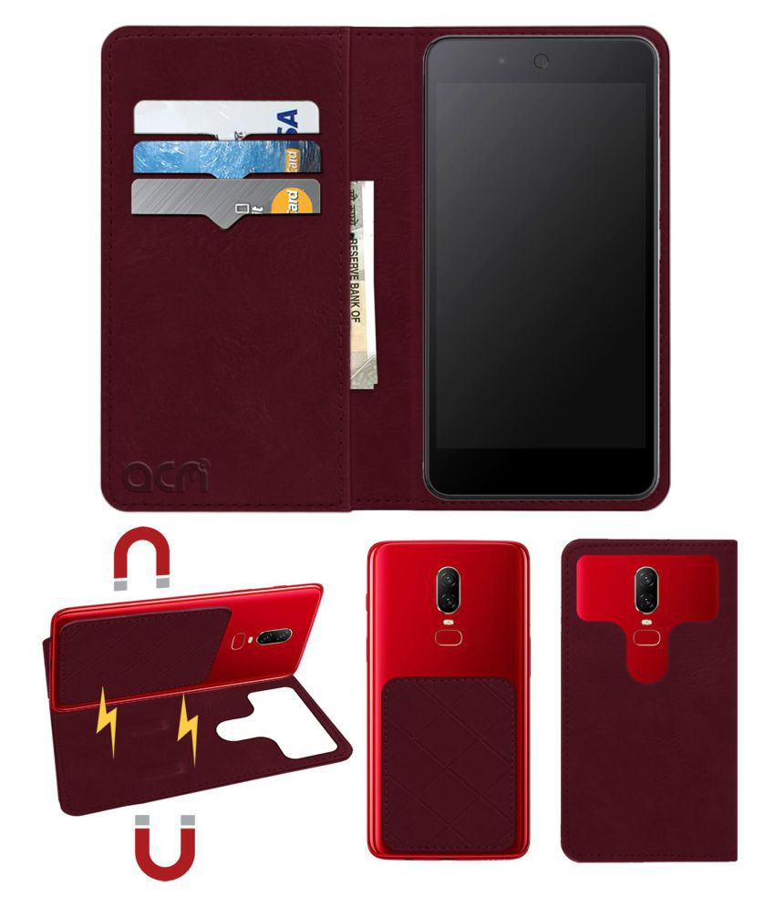 Micromax Canvas Juice 3 Plus Flip Cover by ACM - Red 2 in 1 Detachable Case,Attachable Flip With Magnet