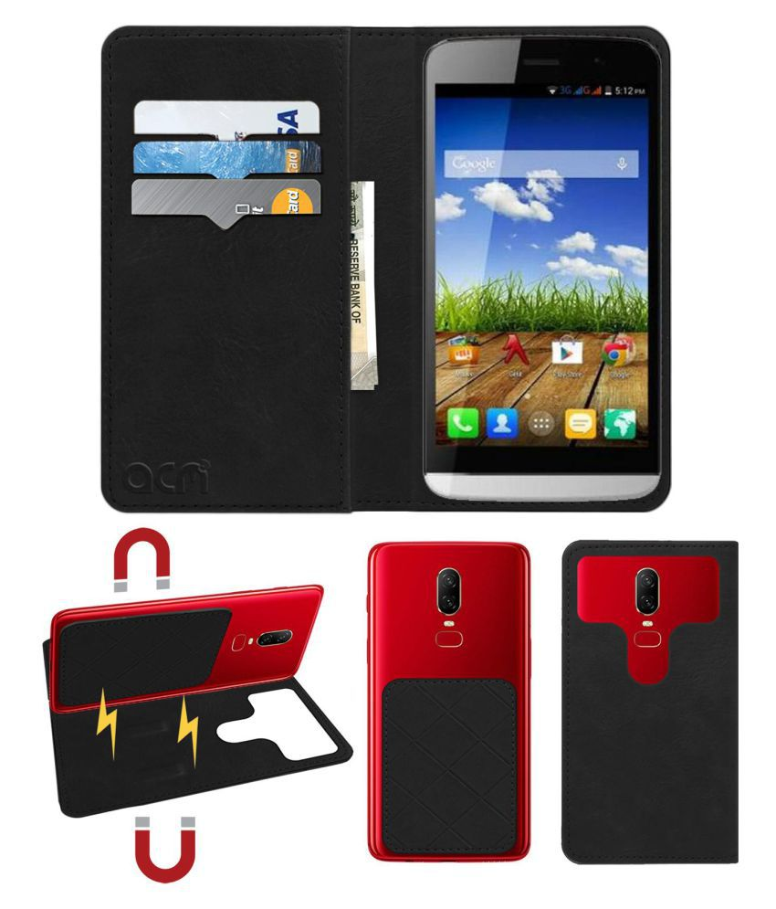 Micromax Canvas L A108 Flip Cover by ACM - Black 2 in 1 Detachable Case,Attachable Flip With Magnet