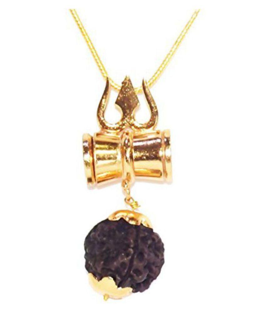 RUDRAKSHA DAMRU CHAIN KAVACH 100% Original 5 face rudraksha Stylish Damru Design and Gold Plated Chain RUDRA DIVINE self Certified