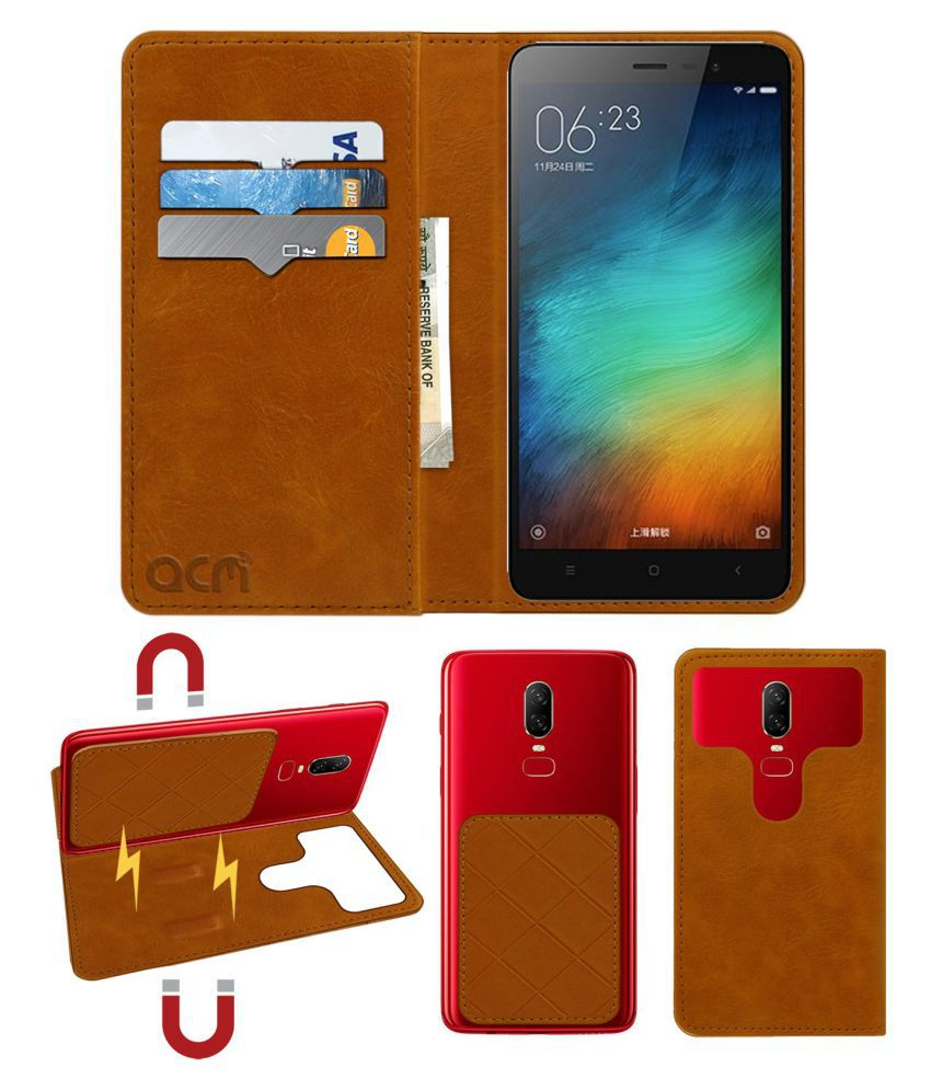 Xiaomi Redmi Note 3 Flip Cover by ACM - Golden 2 in 1 Detachable Case,Attachable Flip With Magnet