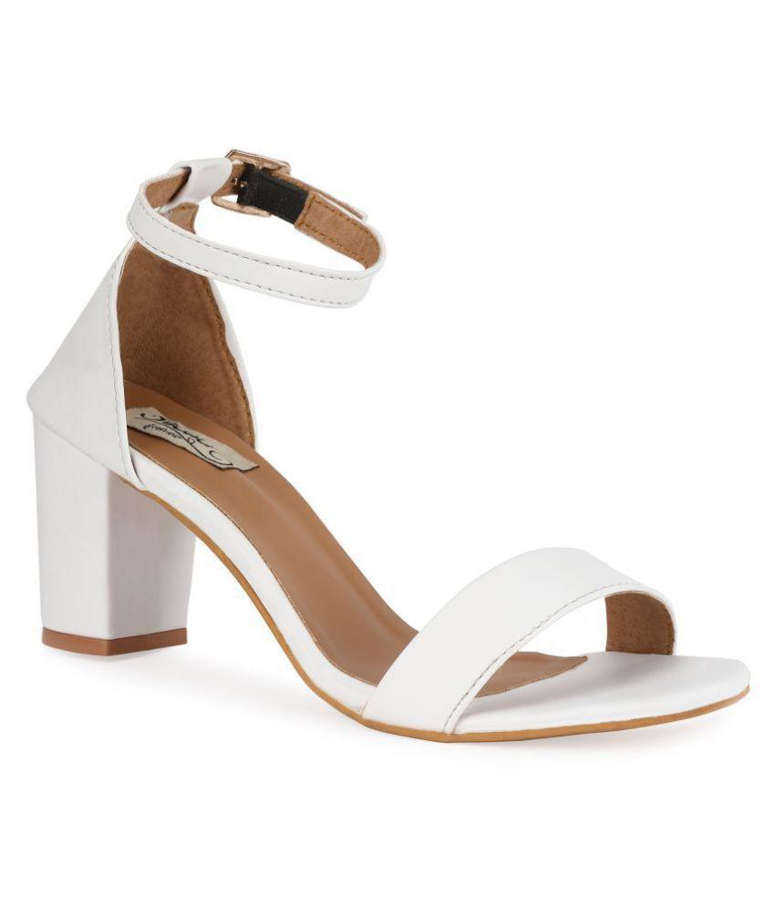 d47529858a1 Sindhi Footwear White Block Heels Price in India- Buy Sindhi ...