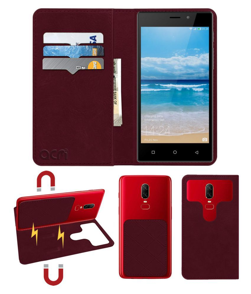 Zen Powermax Neo Flip Cover by ACM - Red 2 in 1 Detachable Case,Attachable Flip With Magnet