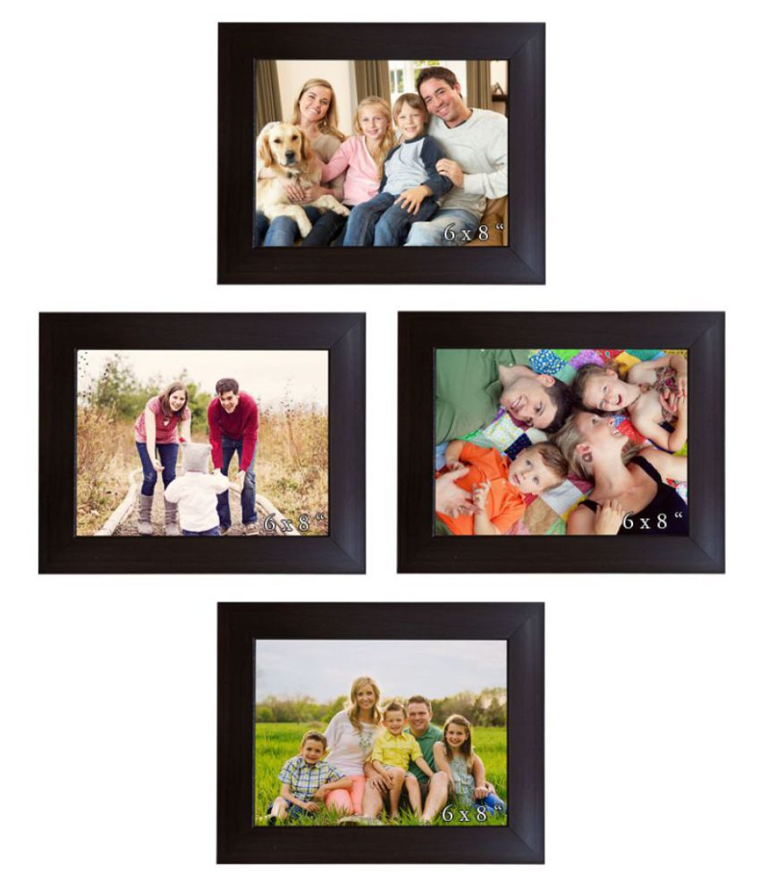 Trends on Wall Acrylic Wall Hanging Brown Photo Frame Sets - Pack of 4