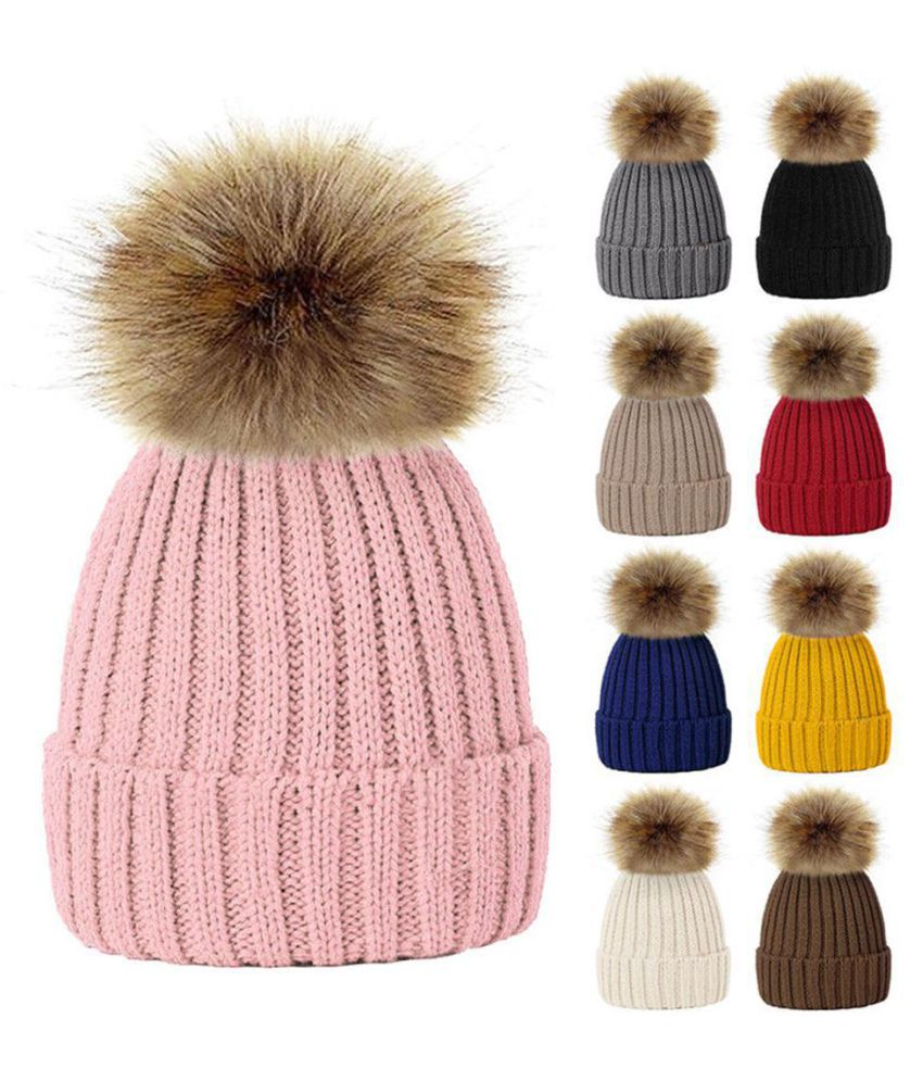 80e7a5e8e79ed ... Fashion Cute Fluffy Ball Baby Kids Adult Beanie Hat Winter Warm Knitted  Cap Gift ...