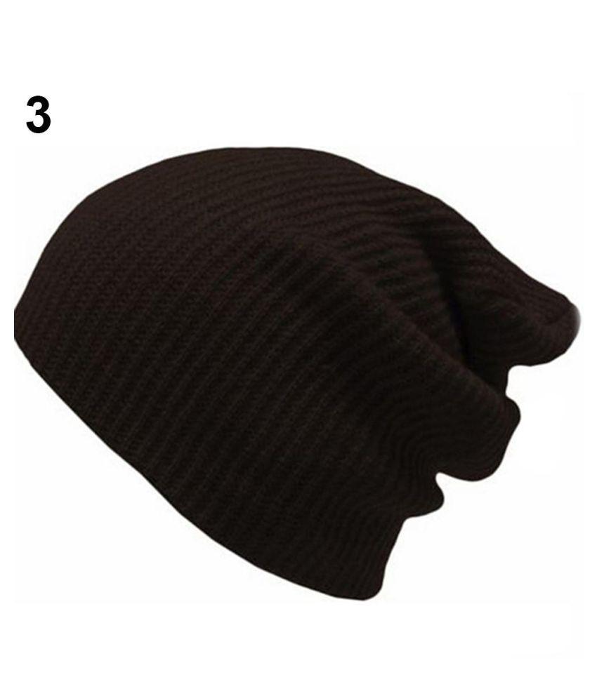07aa36b04 Men Women Solid Stripe Knit Beanie Hat Casual Winter Warm Ski Knitted Cap