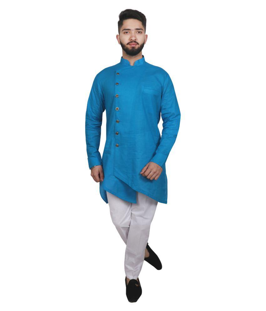 SG LEMAN Turquoise Polyester Kurta Pyjama Set Pack of 2