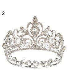 Elegant Lady Shiny Rhinestone Round Crown Tiara Wedding Pageant Bridal Headpiece