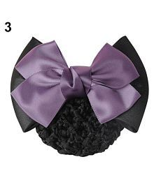 Women Pro Bow Barrette Hair Clip Cover Bowknot Bun Snood Hairnet Hair Accessory