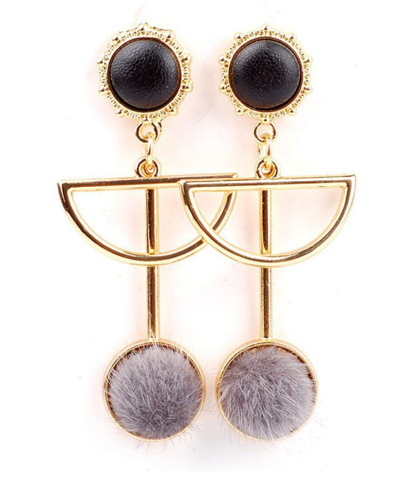 Fashion Women Geometry Pattern With Plush Drop Dangle Long Earrings Jewelry Fashion Jewellery