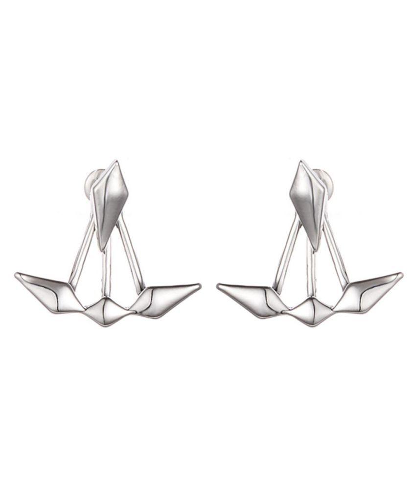 Women Fashion Rhombus Shape Front and Back Ear Jackets Stud Earrings Jewelry Fashion Jewellery