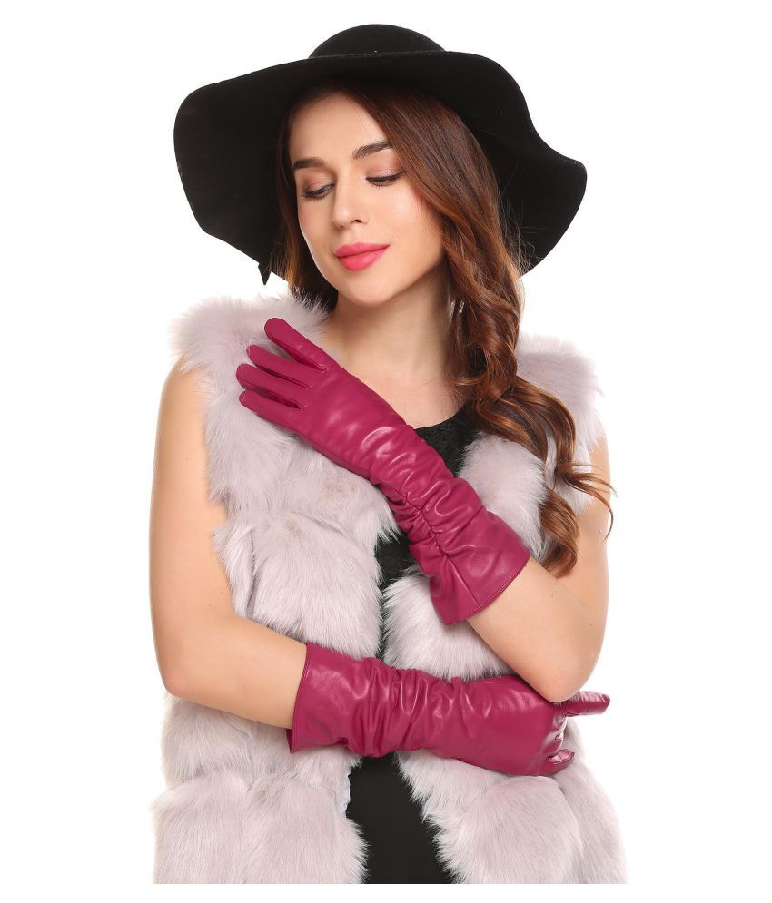 502503167f6cb New Women Leather Gloves Winter Warm Simple Solid Cashmere Wool Blend Lined Long  Gloves  Buy Online at Low Price in India - Snapdeal