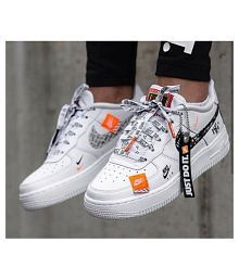 7a211be6eda00 Nike Air Force Just Do It White Running Shoes