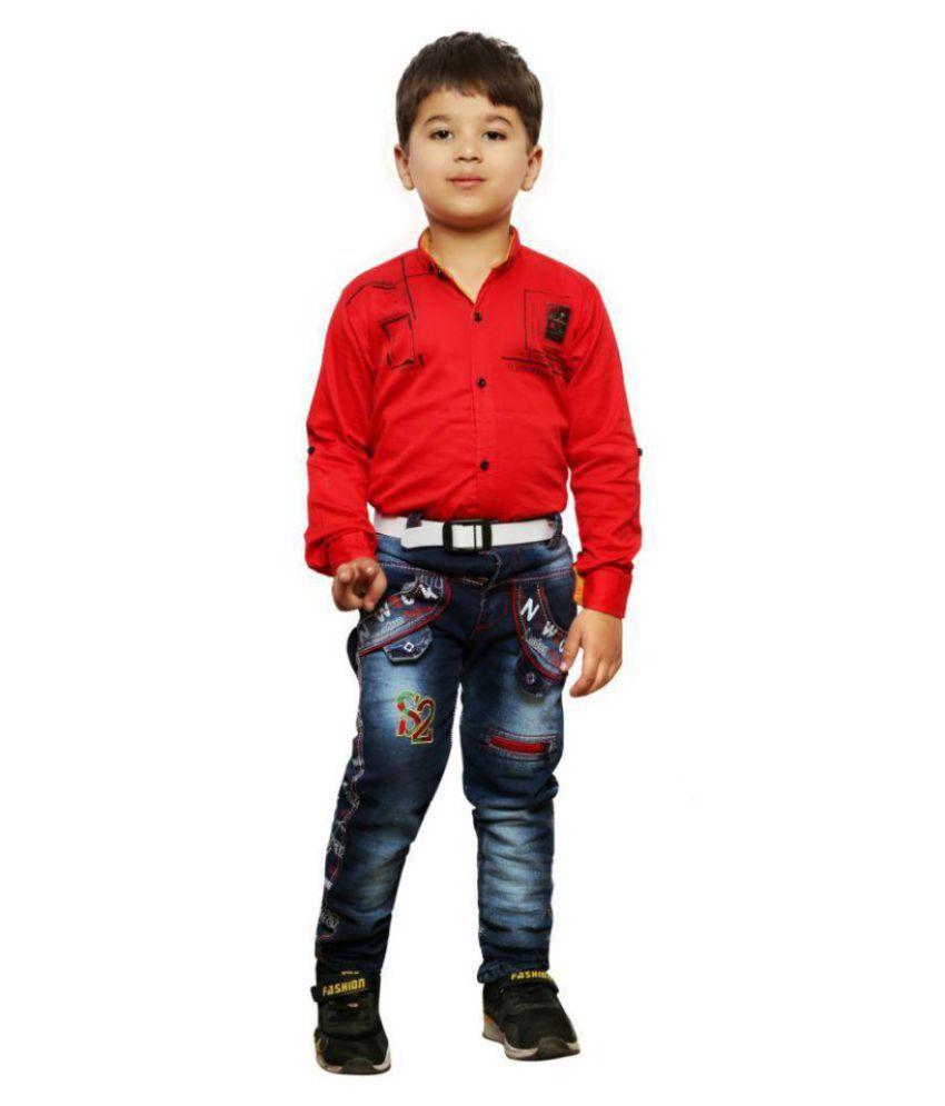 AD & AV BOYS COMBO SET ONE DENIM JEANS AND ONE RED SHIRT