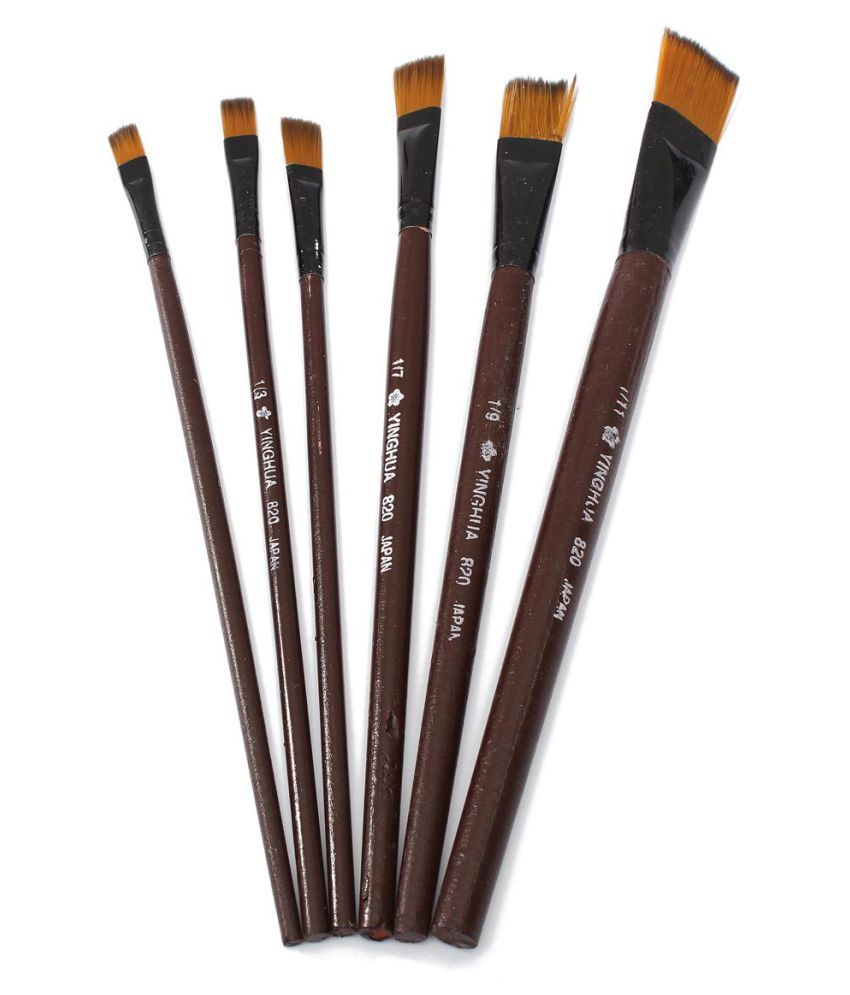 King Do Way 6 Piece Artist Brushes Brown Tip Nylon Paint Brushes For Art Supplies