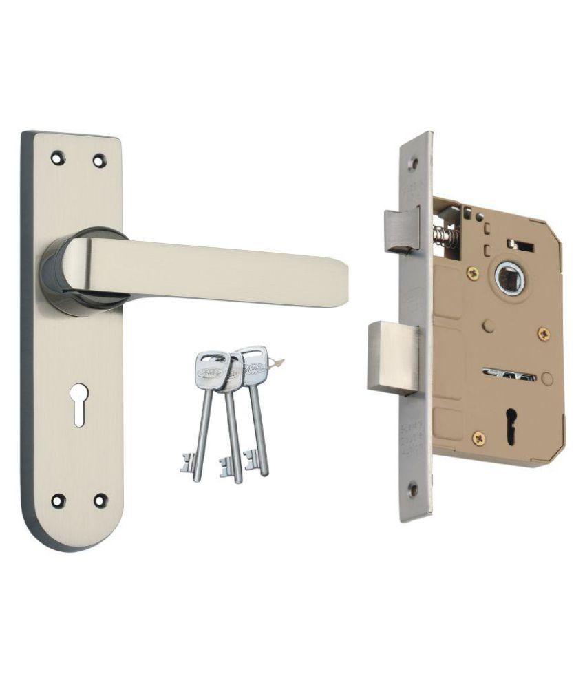 Spider Zinc  Mortice Key Lock  Set  With Black Silver Finish (EMLS + ZZ37MBS)