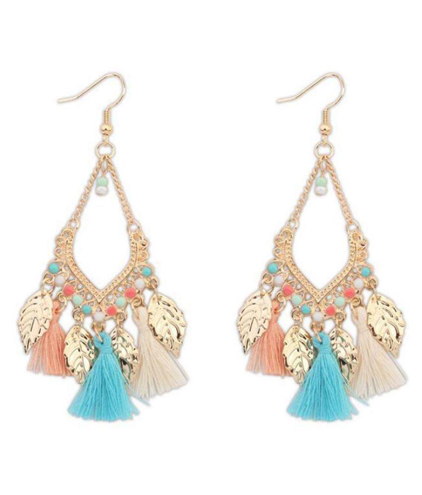 Bohemian Ethnic Style Tassels Metal Leaf Long Drop Hook Earrings Women Jewelry Fashion Jewellery