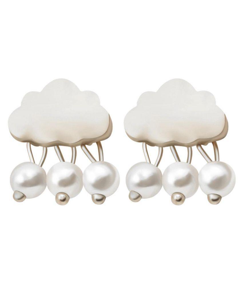 Fashion Women Cloud Raindrop Ear Studs Faux Pearl Earrings Birthday Party Gift Fashion Jewellery