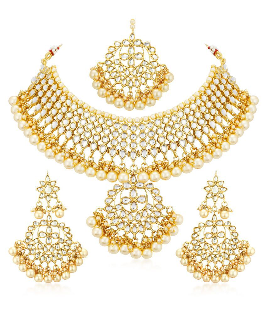 2a24c747ebea2 Sukkhi Alloy Golden Choker Traditional 18kt Gold Plated Necklaces Set +  Free Pair of Earrings of Worth INR.199/-