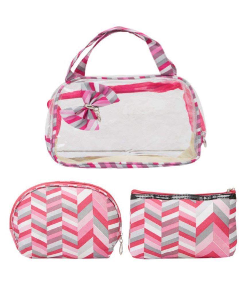 EZ Life 3 Pieces Cosmetic Travel Kit   Pink   Zigzag   Pvc  amp; Polyesther  Makeup/Bra/Lingerie Organizer