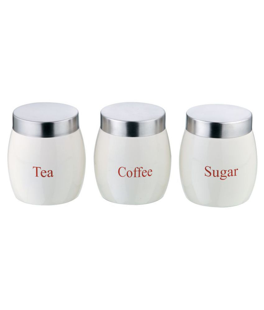 BOXY White Barrel Big Canister Set of 3  Steel Tea/Coffee/Sugar Container Set of 3