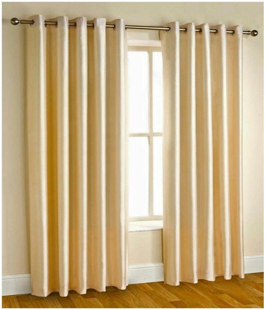 Swarnadeep Set of 2 Window Semi-Transparent Eyelet Polyester Curtains White