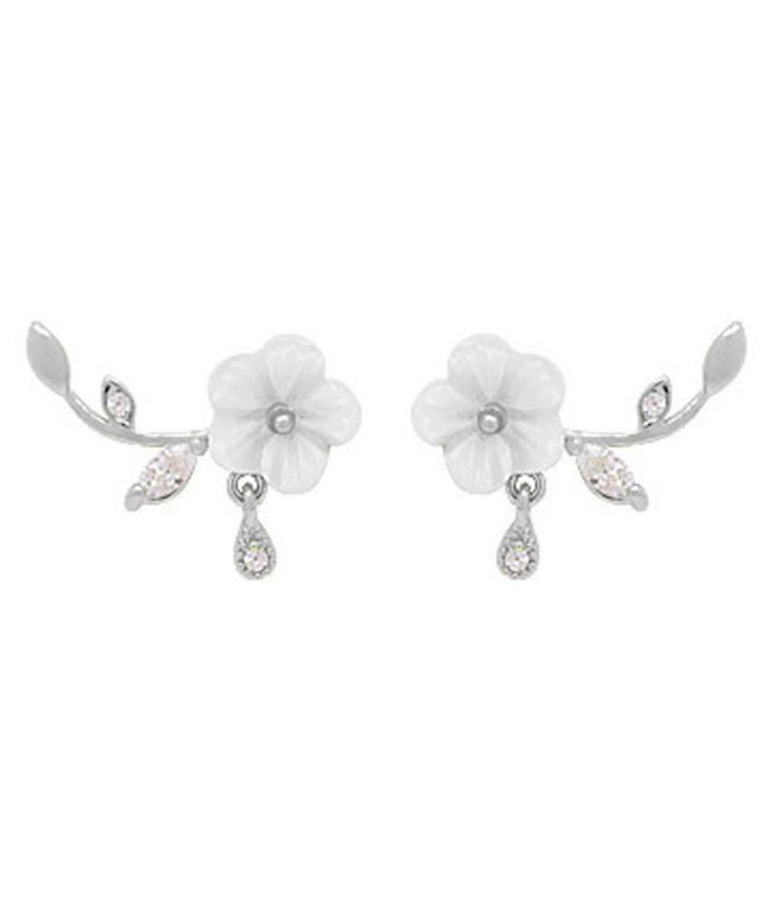 Sweet Flower Leaves Rhinestone Pendant Women Ear Stud Earrings Party Jewelry Fashion Jewellery