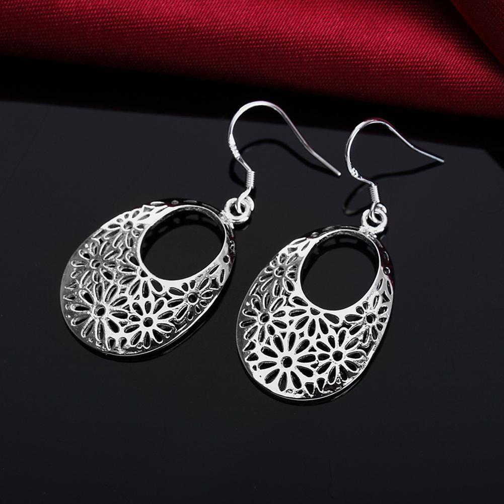 Women Fashion Waterdrop Hollow Flower Carving Hook Earrings Ear Drop Jewelry Fashion Jewellery