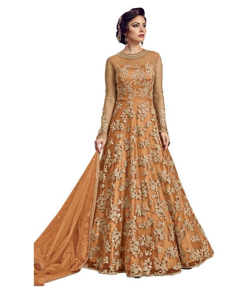28bb9f2ae2 FashionUma Orange Net Anarkali Gown Semi-Stitched Suit - Buy FashionUma  Orange Net Anarkali Gown Semi-Stitched Suit Online at Best Prices in India  on ...