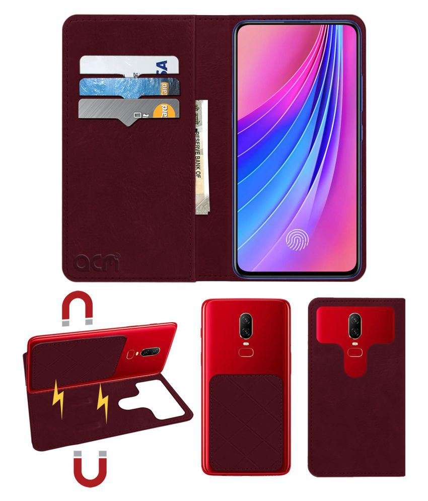 Vivo V15 Pro Flip Cover by ACM - Red 2 in 1 Detachable Case,Attachable Flip With Magnet