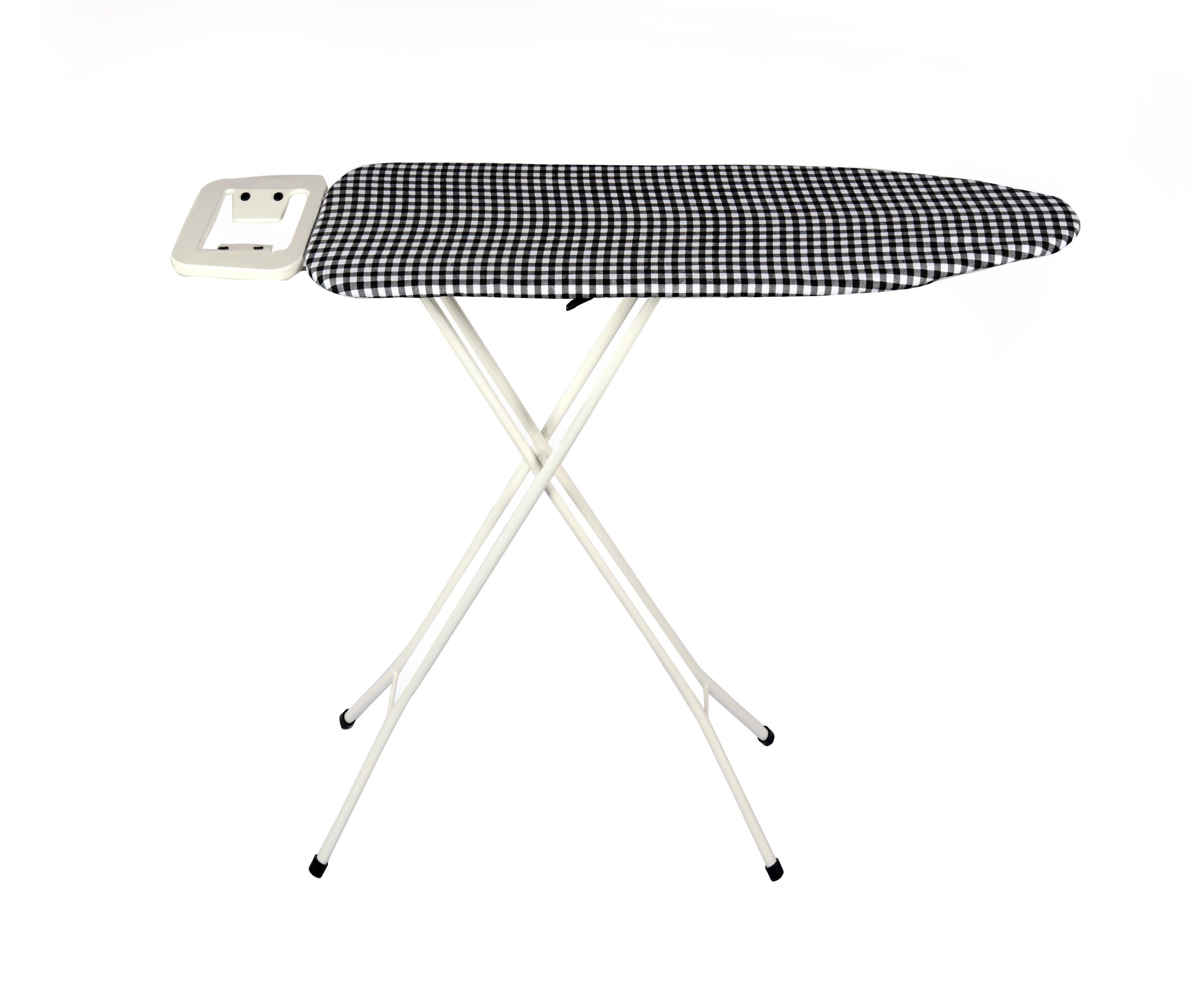 Foldable Ironing Board 110X33 Cm With Rectangular Iron Rest & Black Check Fabric Cover-ELATION - Eurostar
