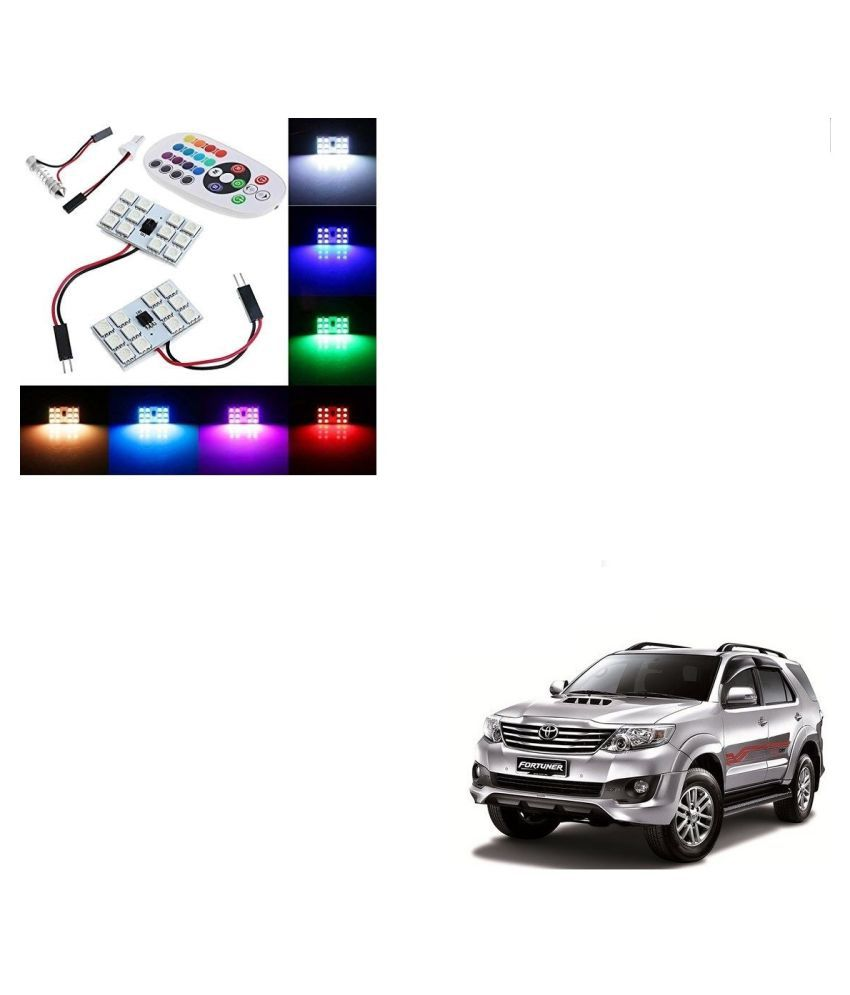 Auto Addict Car 12 LED RGB Roof Light with IR Remote Car Fancy Lights For Toyota Fortuner