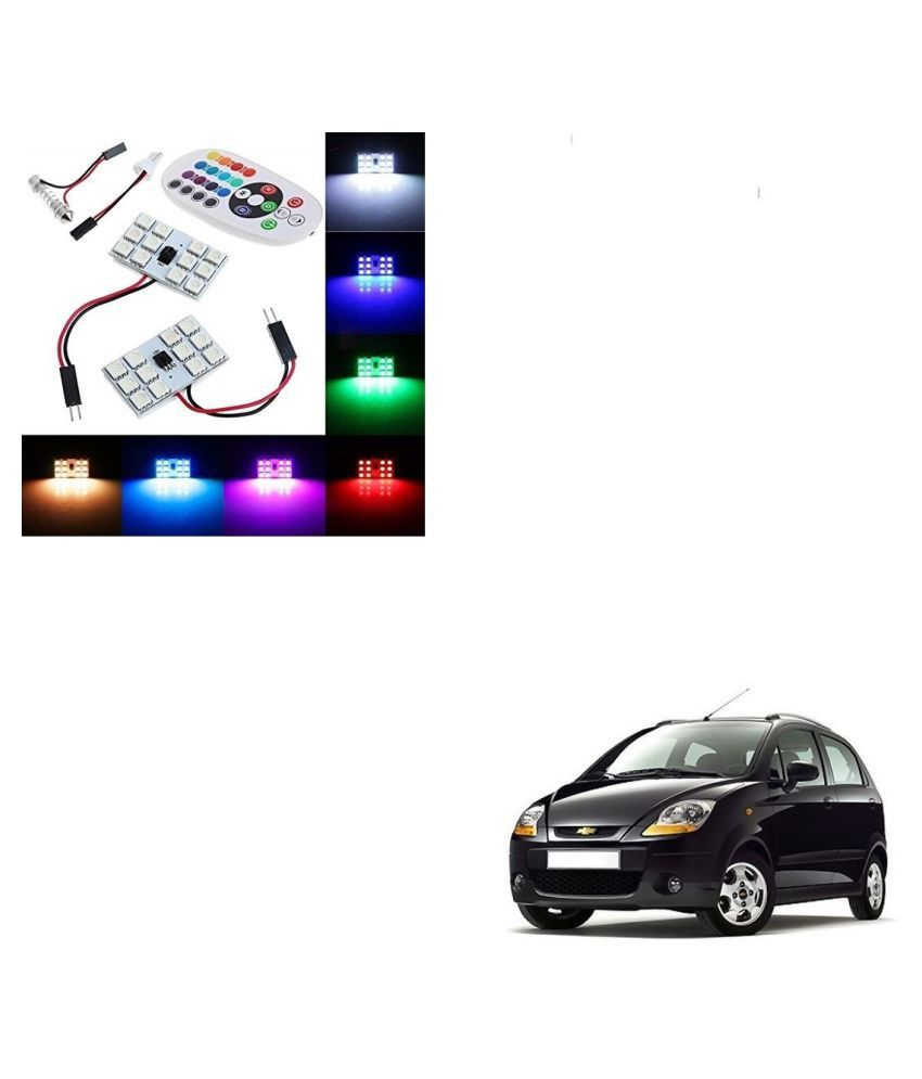 Auto Addict Car 12 LED RGB Roof Light with IR Remote Car Fancy Lights For Chevrolet Spark