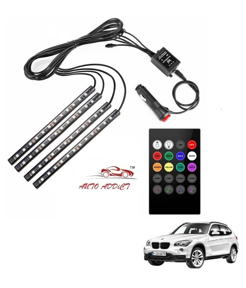 Auto Addict Car Atmosphere LED Lights 4pcs 48 LED DC 12V Multicolor Music Car Strip Light Interior LED Under Dash Lighting Kit without Sound Active Function and Wireless Remote Control For BMW X1