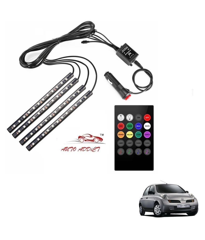 Auto Addict Car Atmosphere LED Lights 4pcs 48 LED DC 12V Multicolor Music Car Strip Light Interior LED Under Dash Lighting Kit without Sound Active Function and Wireless Remote Control For Nissan Micra