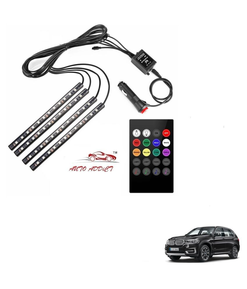 Auto Addict Car Atmosphere LED Lights 4pcs 48 LED DC 12V Multicolor Music Car Strip Light Interior LED Under Dash Lighting Kit without Sound Active Function and Wireless Remote Control For BMW X5