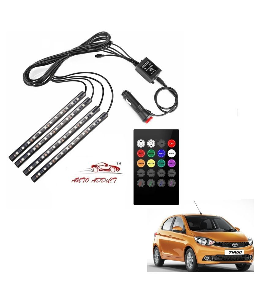 Auto Addict Car Atmosphere LED Lights 4pcs 48 LED DC 12V Multicolor Music Car Strip Light Interior LED Under Dash Lighting Kit without Sound Active Function and Wireless Remote ControlFor Tata Tiago