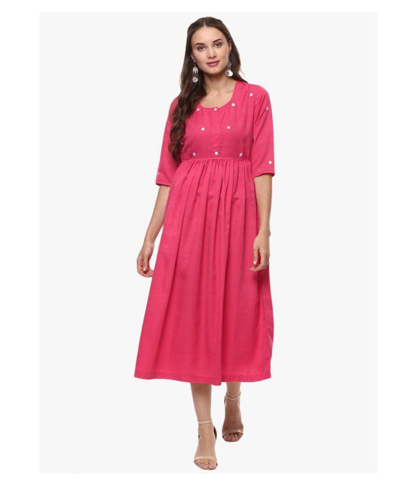 Kira Cotton Pink A- line Dress