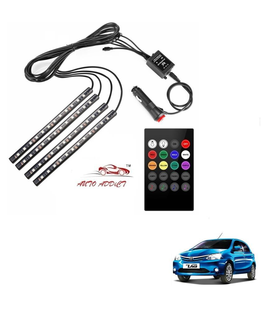 Auto Addict Car Atmosphere LED Lights 4pcs 48 LED DC 12V Multicolor Music Car Strip Light Interior LED Under Dash Lighting Kit without Sound Active Function and Wireless Remote Control For Toyota Etios Liva