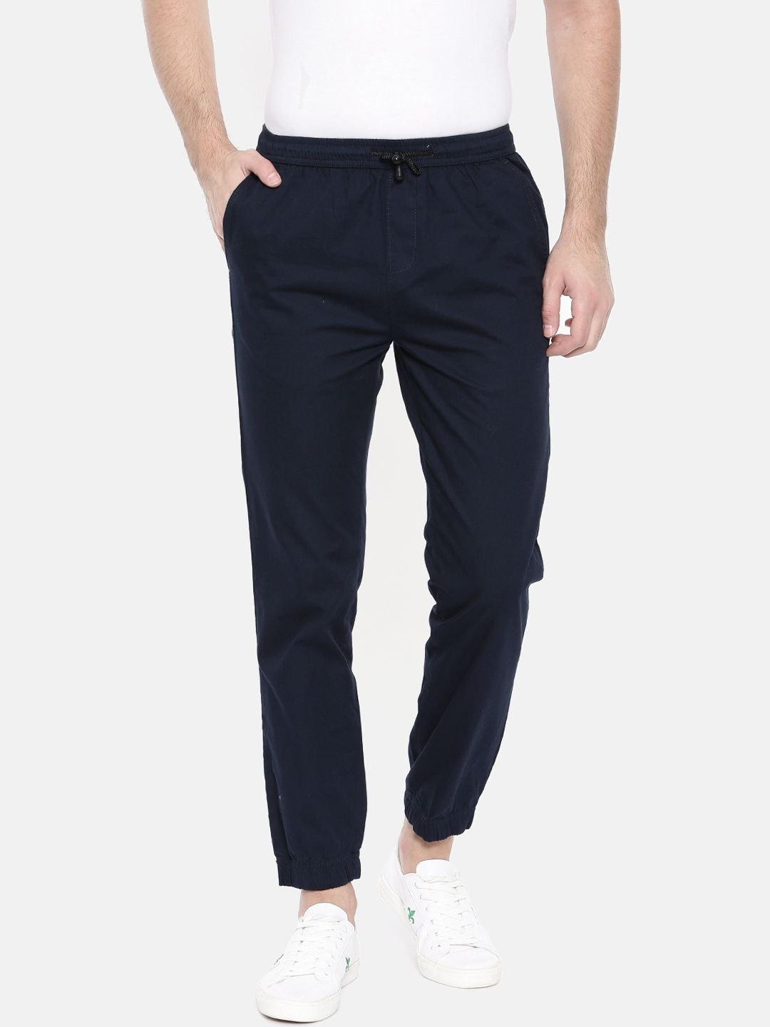 The Indian Garage Co. Navy Blue Slim -Fit Flat Joggers