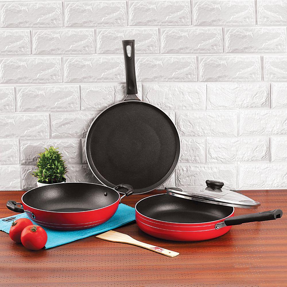 Anjali Fab Nonstick Induction 3 Pcs Gift Set,Red 3 Piece Cookware Set
