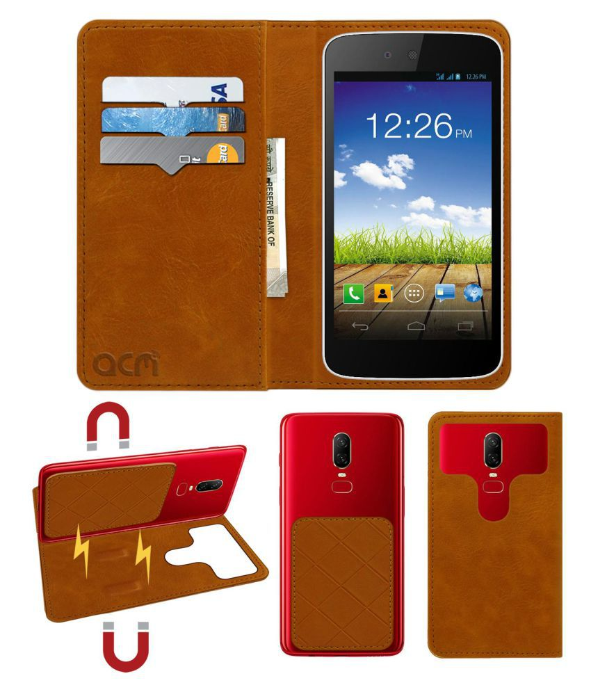 Micromax Canvas A1 Flip Cover by ACM - Golden 2 in 1 Detachable Case,Attachable Flip With Magnet
