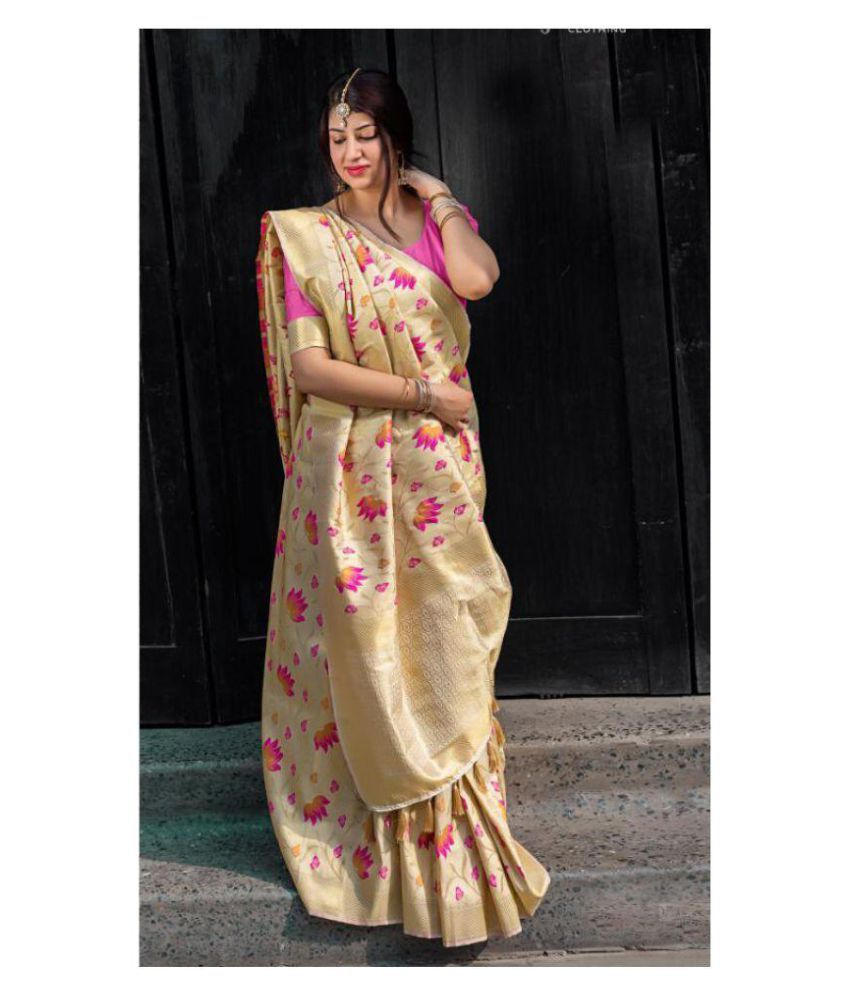 c823a4dc75 SareeShop Designer SareeS Beige Kanchipuram Saree - Buy SareeShop ...