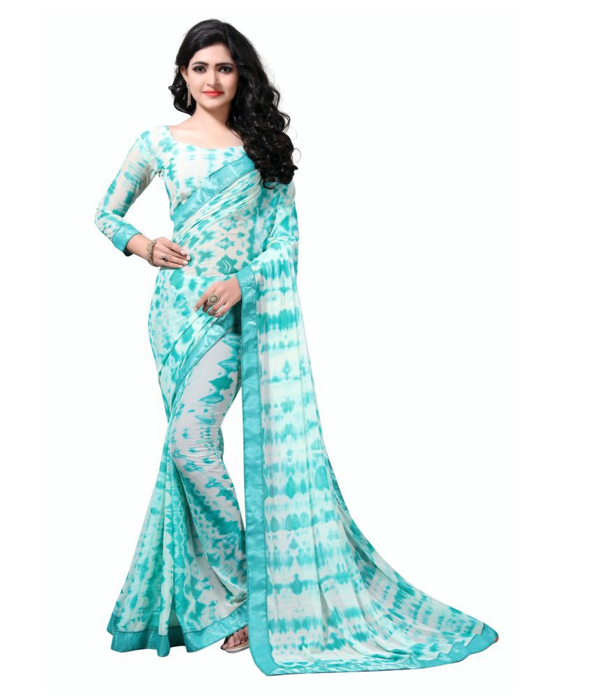 W Ethnic Blue Chiffon Saree