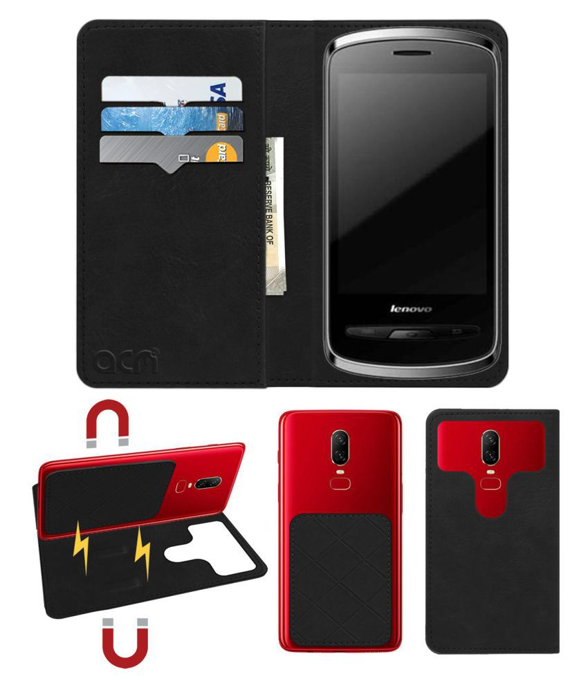 Lenovo A65 Flip Cover by ACM - Black 2 in 1 Detachable Case,Attachable Flip With Magnet