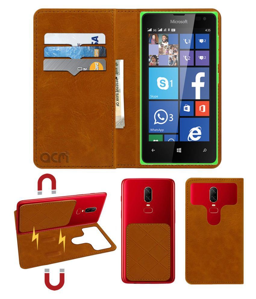 Microsoft Lumia 435 Flip Cover by ACM - Golden 2 in 1 Detachable Case,Attachable Flip With Magnet