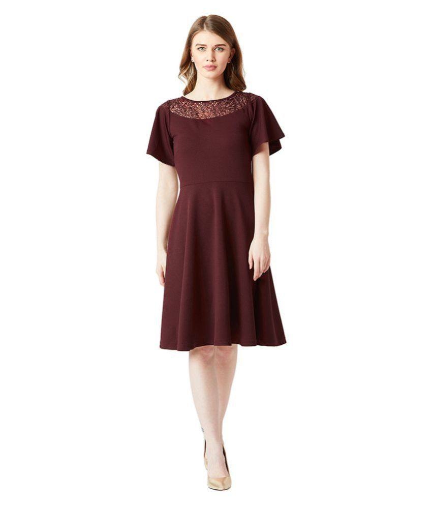Miss Chase Crepe Maroon Skater Dress