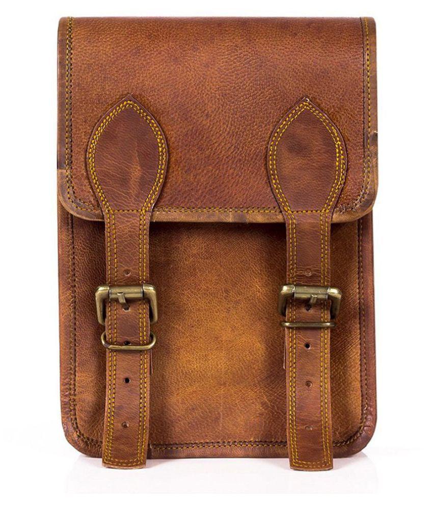 Anshika International Brown Leather Casual Messenger Bag